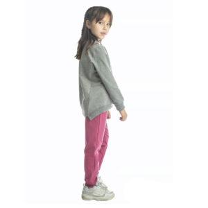 """Παιδική Φόρμα Φούτερ Crop Γκρι/Σάπιο Μήλο """"Sporty"""" 216526 Joyce"""