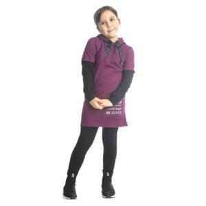 """Παιδικό Φόρεμα Φούτερ Μωβ Με Κουκούλα """"Hood"""" 216571 Joyce"""