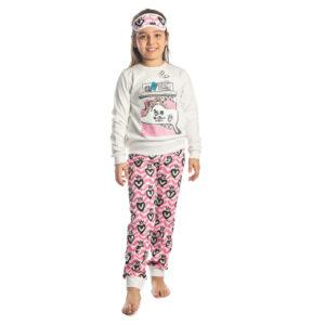 """Παιδική Πυτζάμα Για Κορίτσι Εκρού/Ροζ """"Nap Queen"""" 217505 Dreams"""