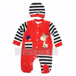 """Βρεφικό Ολόσωμο Φορμάκι Βελουτέ Κόκκινο με ασορτί Σκουφάκι """"Giraffe"""" 2002 Kinder"""