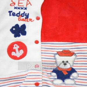 """Βρεφικό Ολόσωμο Φορμάκι Βελουτέ Μπλε/Κόκκινο + Σκουφάκι """"Sea Teddy"""" 2004 Kinder"""