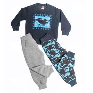 """Παιδική Φόρμα Φούτερ (2 Παντελόνια) """"Army Dino"""" Μπλε 216317 Joyce"""