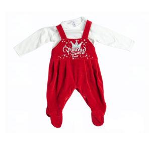 """Βρεφικό Σετ Σαλοπέτα & Μπλούζα Κόκκινο/Λευκό """"Princess"""" 217020 Dreams"""